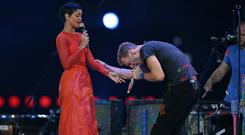 Rihanna and Coldplay's Chris Martin performed Princess Of China at the closing ceremony for the London Paralympic Games 2012
