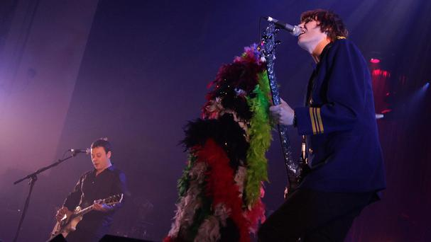 James Dean Bradfield and Nicky Wire of The Manic Street Preachers performing