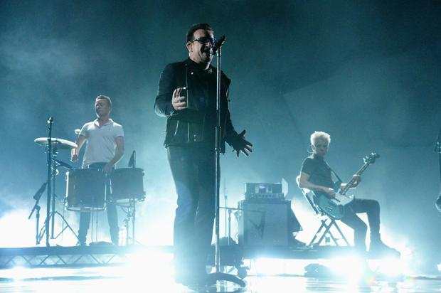 U2 perform during the MTV EMA's 2014