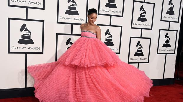 Rihanna was pretty in pink arriving at the Grammys (AP)