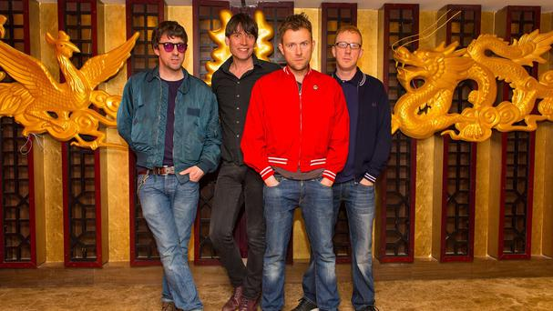 Graham Coxon, Alex James, Damon Albarn and Dave Rowntree of Blur, who have been announced as the headline band for Hyde Park