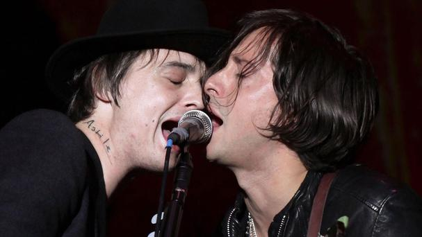 Pete Doherty and Carl Barat perform with The Libertines at Reading in 2010