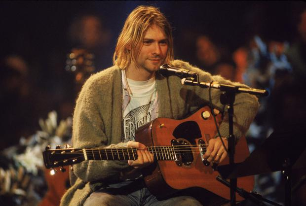 Kurt Cobain on stage during the filming of MTV Unplugged.
