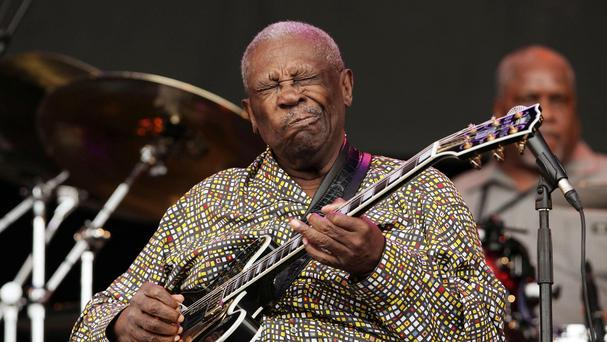 BB King performing on the Pyramid Stage at the Glastonbury Festival