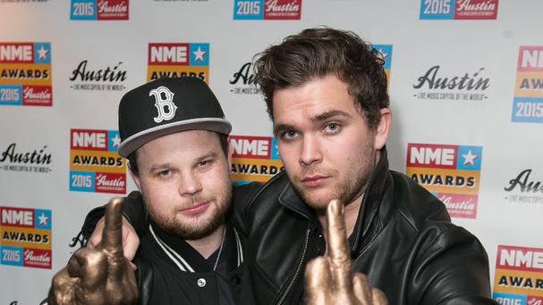 Ben Thatcher (left) and Mike Kerr of Royal Blood after success at the NME Awards