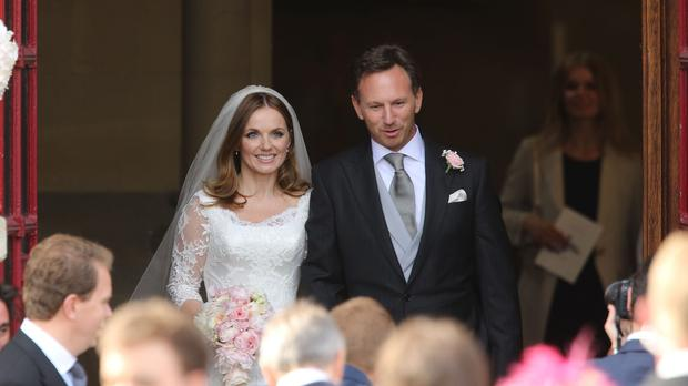 Geri Halliwell and her new husband Christian Horner leave St Mary's Church in Woburn, Bedfordshire