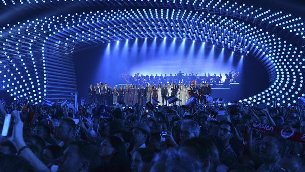 Contestants gather on the stage at the beginning of the first semi-final of the Eurovision Song Contest in Austria's capital Vienna. (AP)