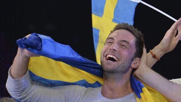 Mans Zelmerlow celebrates after winning the final of the Eurovision Song Contest for Sweden (AP)
