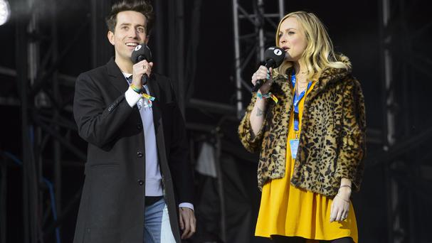 Nick Grimshaw and Fearne Cotton on stage at the Radio 1 Big Weekend, held in Earlham Park, Norwich