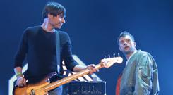 Blur performing on the Main Stage at the Isle of Wight Festival