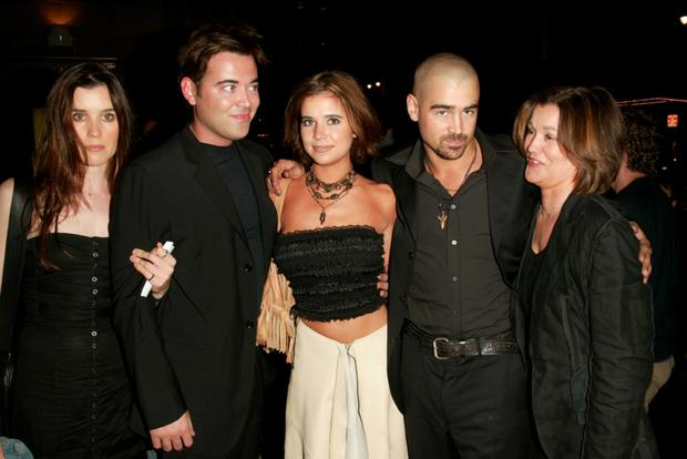 Colin Farrell arrives at a film premiere with his family: Catherine, Eamon and Claudine and his mother Rita (far right).