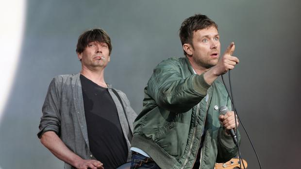 Blur performing on the Great Oak Stage at the British Summer Time Hyde Park festival in London