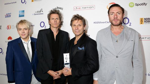 Nick Rhodes, John Taylor, Roger Taylor and Simon le Bon of Duran Duran, from left to right, with their Spotify Lifetime Achievement Award