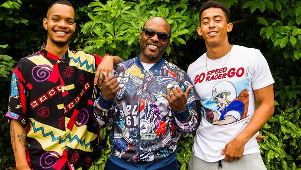 DJ Jazzy Jeff (centre) with Harley Alexander-Sule (left) and Jordan Stephens of Rizzle Kicks behind the scenes for a new video of a re-creation of the 90s hit Summertime