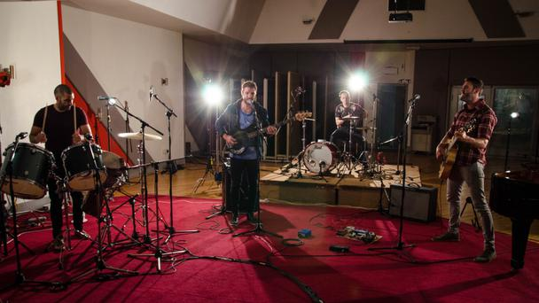ROCKING OUT: Hermitage Green recording their session for independent.ie at Windmill Lane