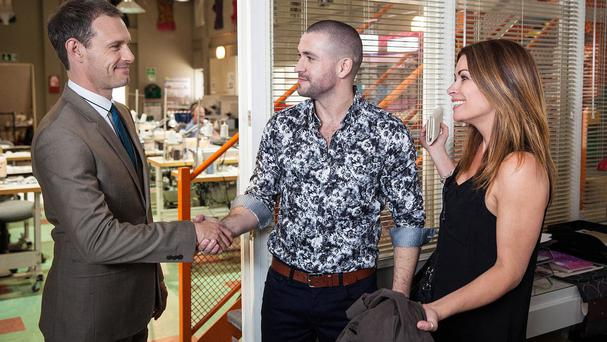 Shayne Ward, as Aidan Connor, is greeted by Nick Tilsley, played by Ben Price, and Carla Connor, played by Alison King, as he arrives in Weatherfield (Joseph Scanlon/ITV/PA)