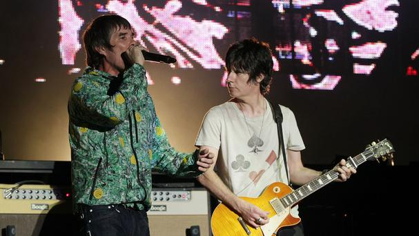 Ian Brown and John Squire of the Stone Roses performing on the Virgin Media Stage at the V Festival in Hylands Park, Chelmsford