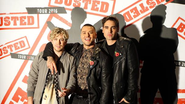 James Bourne, Matt Willis and Charlie Simpson during a photocall at the Soho Hotel in London