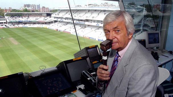Former Australian cricketer Richie Benaud in the Channel 4 commentary box at Lords