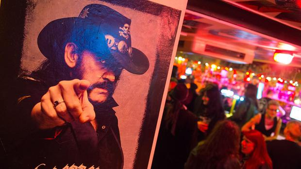 Motorhead fans at a memorial event for Lemmy at the Wig and Gown in north London