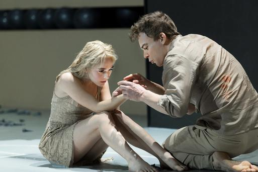 Sophia Anne Caruso, left, and Michael C. Hall perform in a scene from David Bowie and Enda Walsh's