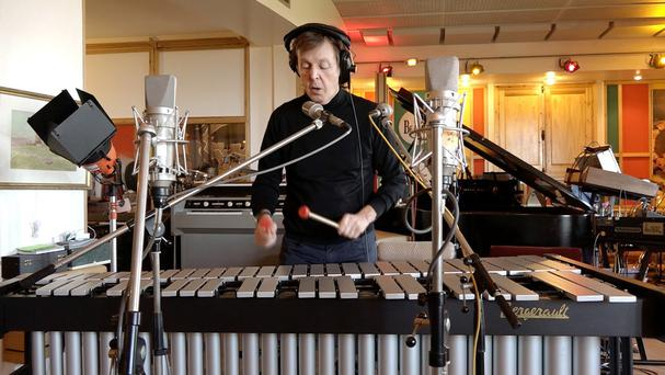 Sir Paul McCartney recording music he has written for a range of 'Love Mojis' in partnership with Skype for Valentine's Day (Skype/PA)