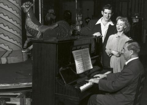 Richard Rogers in rehearsal with Iva Withers and Stephen Douglass.
