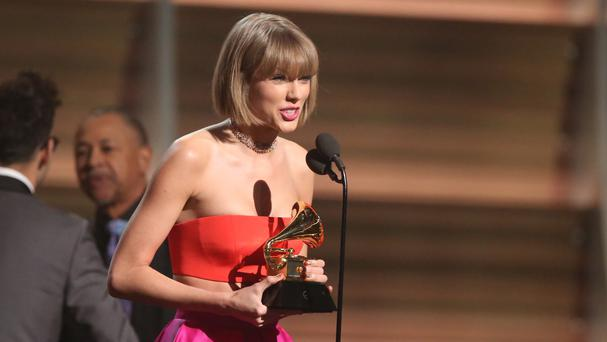 Taylor Swift appeared to take a swipe at Kanye West's claims he made her famous (AP)