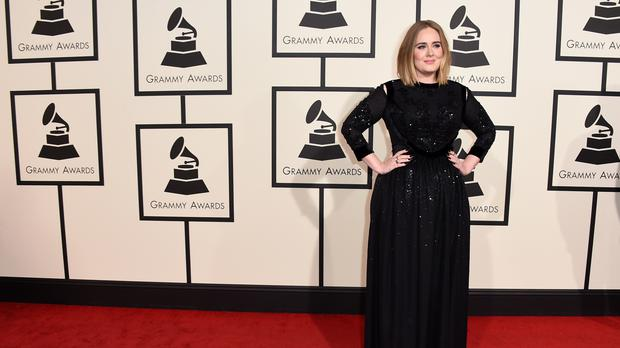 Adele arrives at the Grammys at the Staples Centre in LA (AP)