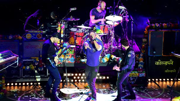 Coldplay performing at the NME Awards