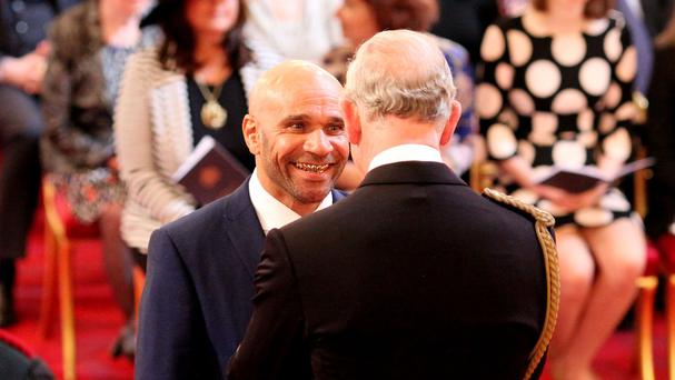 Musician and DJ Goldie is made an MBE by the Prince of Wales