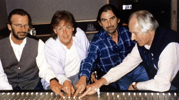 Sir George Martin with Beatles members recording Free As A Bird in 1995