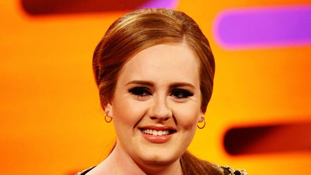 Adele during filming for the Graham Norton show at the London Studios.