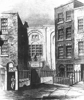 The old Music Hall in Fishamble Street, Dublin, immortalised by its claim to be the first venue for a performance of Handel's 'Messiah' in 1742.