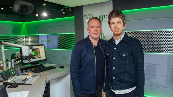 Chris Moyles with Noel Gallagher (Global Radio/PA)