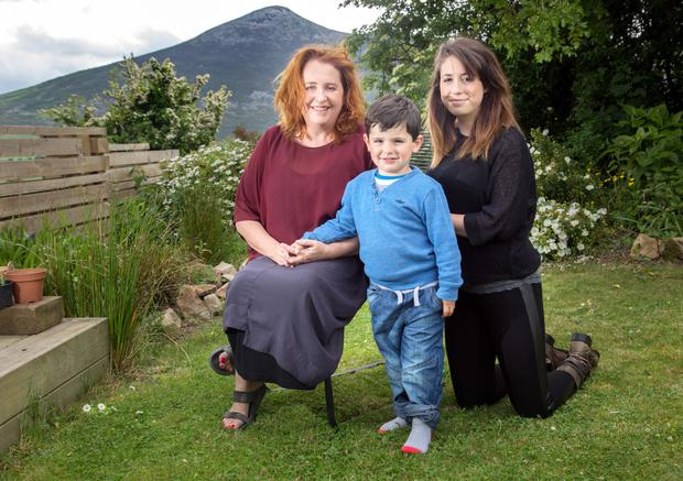 Family: Mary Coughlan with her daughter Clare Bonadio and grandson Felice Farrelly last year.