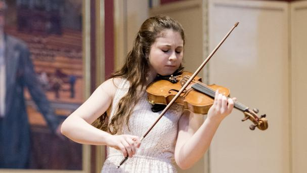 Louisa Staples, 16, of Battersea, London, is one of nine youngsters still competing for the trophy (Menuhin Competition/PA)