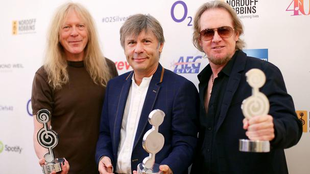 Left to right, Iron Maiden's Janick Gers, Bruce Dickinson and Adrian Smith at last year's O2 Silver Clef Awards