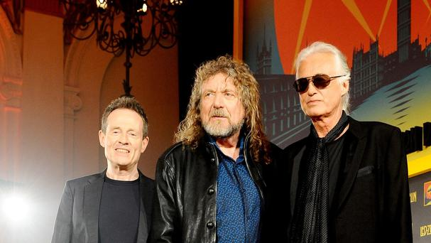 (left to right) File photo dated 21/09/12 of John Paul Jones, Robert Plant and Jimmy Page of Led Zepplin, as the song allegedly copied by members of Led Zeppelin when they wrote Stairway To Heaven was played at the band's first music festival in America, a court has heard.