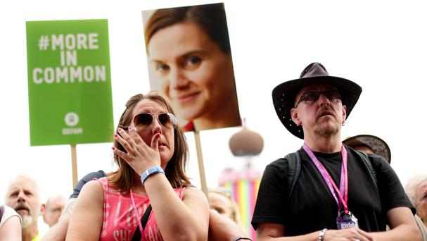 Festivalgoers during a tribute to Jo Cox