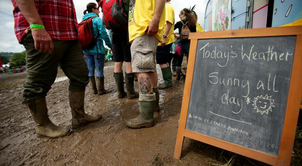 An optimistic weather forecast at Glastonbury