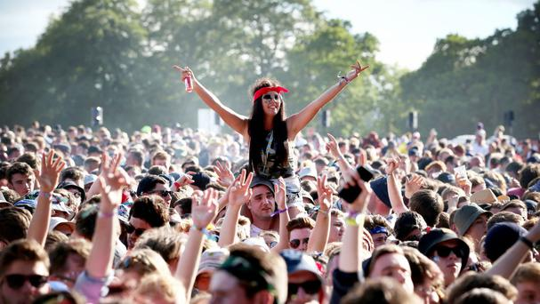 Festivalgoers watch The Courteeners on the main stage at T in the Park