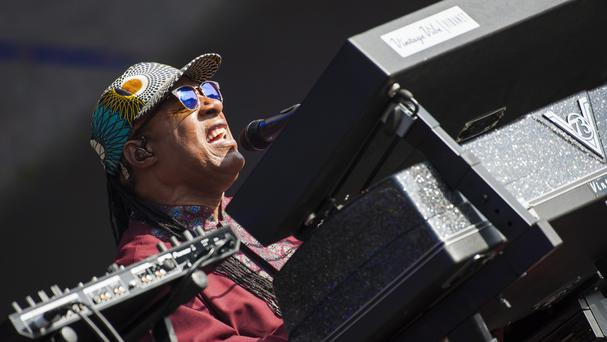 Stevie Wonder performing at the British Summer Time festival in Hyde Park