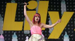 Lily Allen performing at the Glastonbury Festival