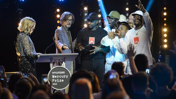 Mercury Prize winner Skepta with presenter Jarvis Cocker