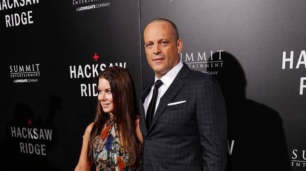 Vince Vaughn and Kyla Weber arrive at the LA Special Screening of Hacksaw Ridge at the Samuel Goldwyn Theatre in Beverly Hills, California (AP)