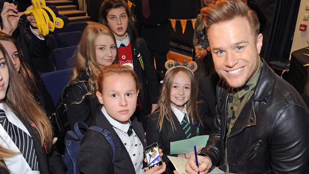 Singer and presenter Olly Murs returned to his old school in Braintree, Essex