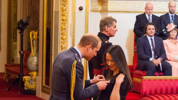 Johanna Basford from Ellon is made an OBE by the Duke of Cambridge at Buckingham Palace