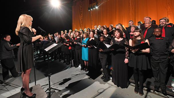 Politicians and members of the Royal Opera House Thurrock Community Chorus record the charity single