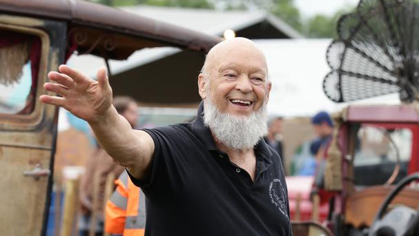 Michael Eavis backstage at the Glastonbury Festival, at Worthy Farm in Somerset